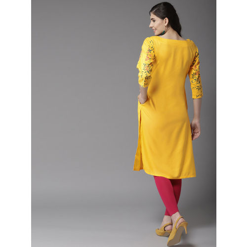 HERE&NOW Women Yellow Printed Straight Kurta