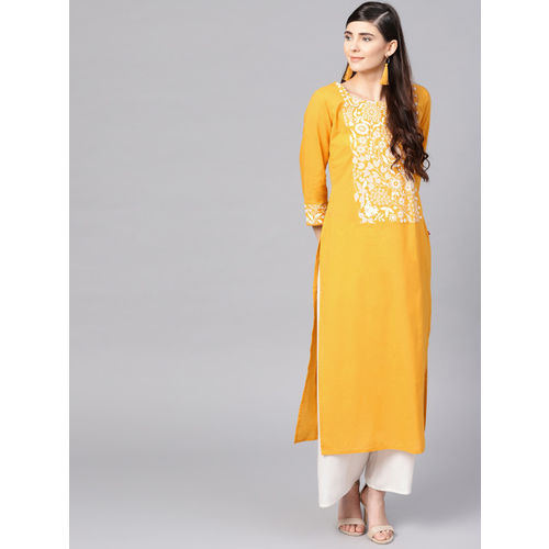 Varanga Women Yellow & White Yoke Design Khari Print Straight Kurta