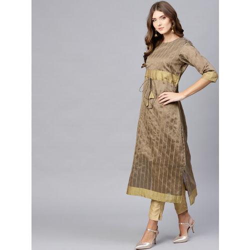 Inddus Women Beige Striped Straight Kurta
