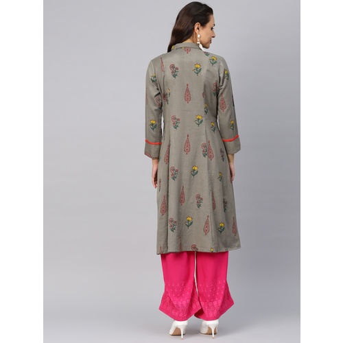 Shree Women Grey & Pink Printed A-Line Kurta