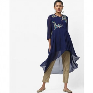 AJIO Floral Embroidered Flared High-Low Kurta