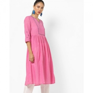 AJIO Chambray Flared Kurta with Embroidered Yoke & Sleeve Hems