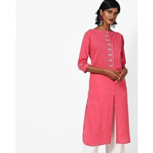 AJIO Embroidered Kurta with Front Slit