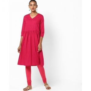 AJIO Self Embroidered Flared Kurta with Surplice Neckline