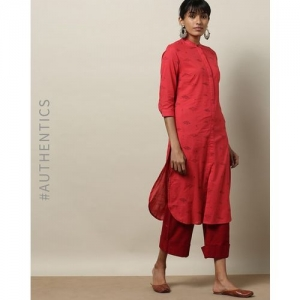 Indie Picks by AJIO Handblock Print Cotton Slub Kurta