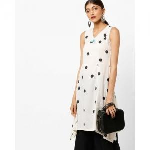 AJIO Polka-Dot Print Sleeveless Kurta with Handkerchief Hem