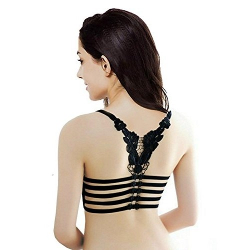 035c0300fb Buy Bare Threads Black Butterfly Lace Bralette Bra online