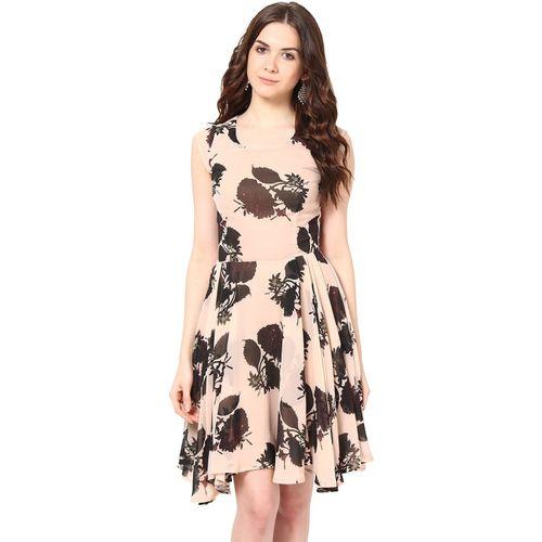 Harpa Peach Georgette A-line Dress