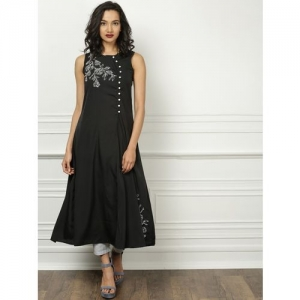 All About You Women Embroidered A-line Kurta(Black)