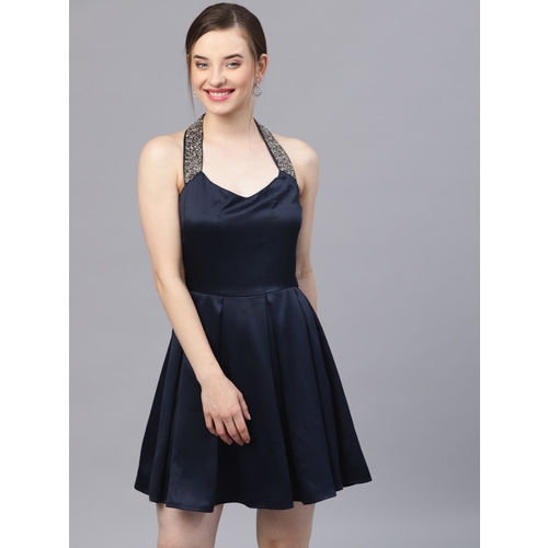 STREET 9 Women Navy Blue Solid Fit and Flare Dress