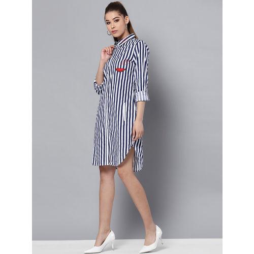 STREET 9 Women Navy Blue & White Striped Shirt Dress