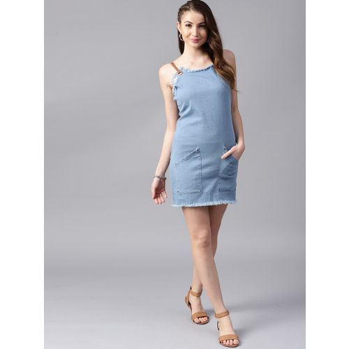 STREET 9 Women Blue Solid Denim Sheath Dress