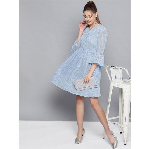 STREET 9 Women Blue Self Design Fit & Flare Dress