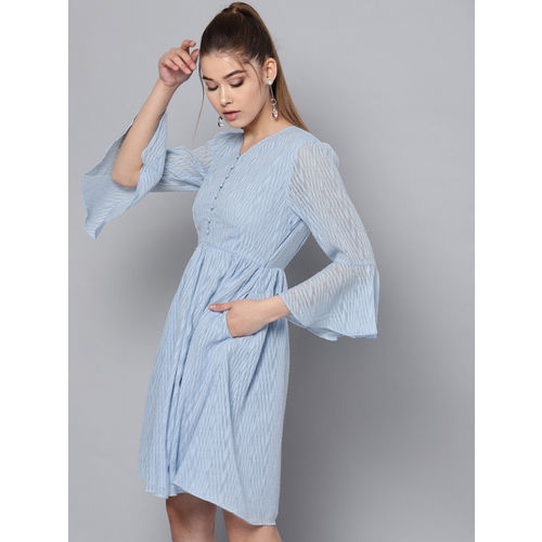STREET 9 Women Blue Self Design Fit & Flare Dress
