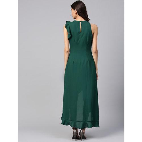 Street 9 Green Round Neck Dress