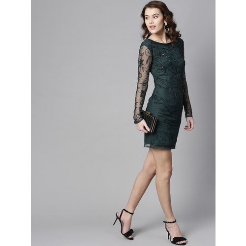 STREET 9 Women Green Solid Sheath Dress