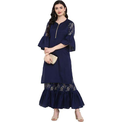 Ziyaa Women's Floral Print Straight Kurta(Dark Blue)