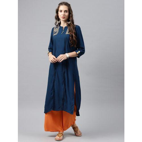 Alena Women Embroidered Straight Kurta(Dark Blue)