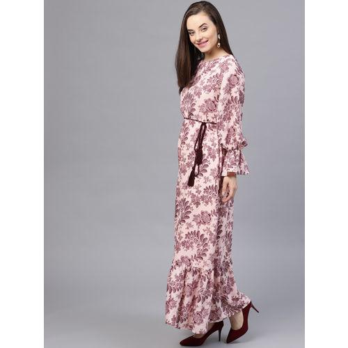 STREET 9 Women Peach-Coloured & Burgundy Printed Maxi Dress