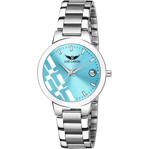 Lois Caron LCS-7018 SKY BLUE DIAL & SILVER BRACELET DATE FUNCTIONING FOR GIRLS Smart Analog Watch - For Women
