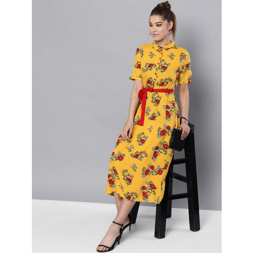 STREET 9 Women Mustard Yellow & Red Printed A-Line Dress