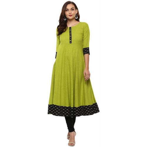 Prime Shop Women Solid Anarkali Kurta(Green)