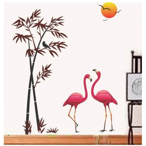 Happy walls Pink Flamingo Birds In Bamboo Tree & Sunset Background