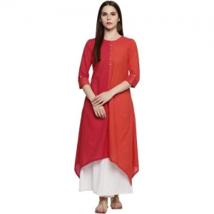 Rangmanch by Pantaloons Women Striped Trail Cut Kurta(Orange, Red)