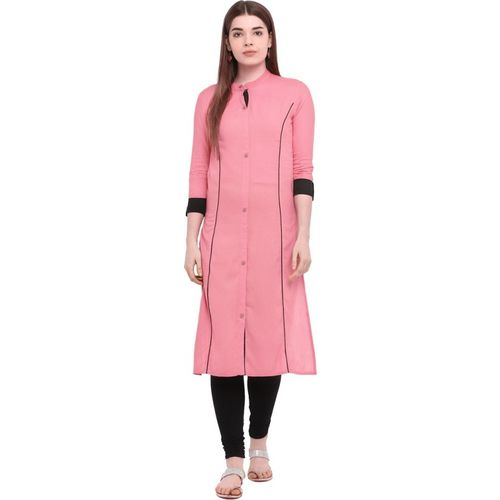 Aprique FAB Women Solid Straight Kurta(Pink)