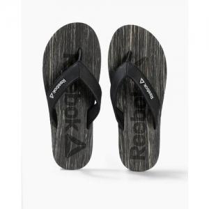 Reebok Men Black & Beige Printed WILLIS Thong Flip-Flops