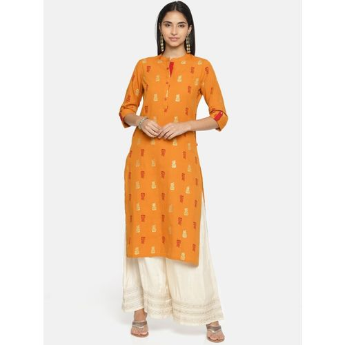 Alena Women Printed Straight Kurta(Yellow)
