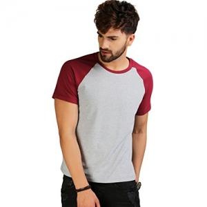 AELO Maroon & Grey Crew Neck Reglan Sleeve Cotton T-Shirt