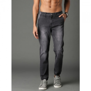 Roadster Men Black Jogger Mid-Rise Clean Look Stretchable Jeans