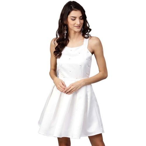 Street 9 Women Fit and Flare White Dress