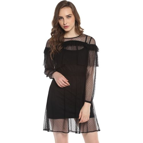 Street 9 Women Fit and Flare Black Dress