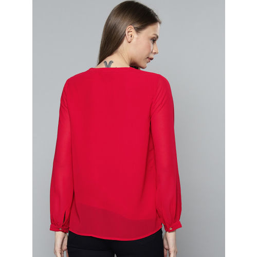 Chemistry Women Red Embroidered Top