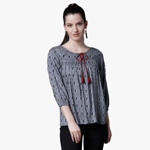 Tokyo Talkies Casual 3/4 Sleeve Printed Women Grey Top