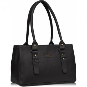 Fristo Black Synthetic Solid Shoulder Bag