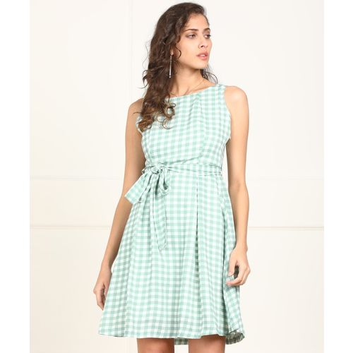 Tokyo Talkies Women Fit and Flare White, Light Green Dress