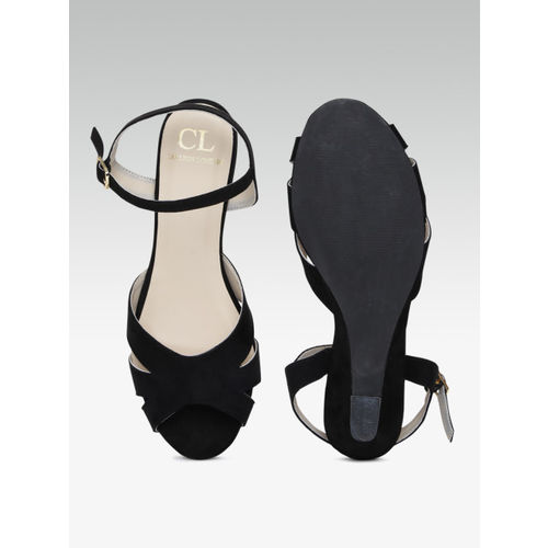 Carlton London Women Black Solid Peep Toes