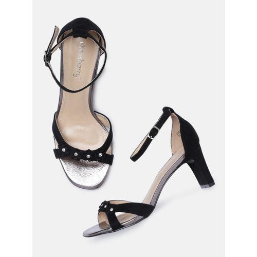 DressBerry Women Black Embellished Heeled Sandals