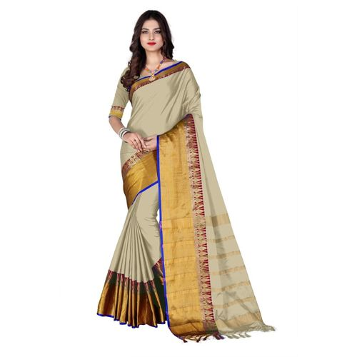 Flipstar Striped Coimbatore Cotton Silk Saree(Beige)