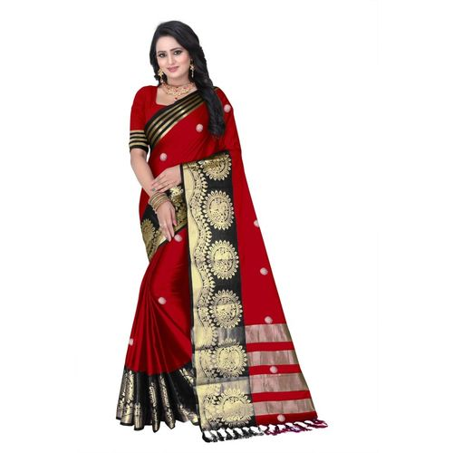 Fancy Fab Woven Paithani Jacquard Saree(Red, Black)