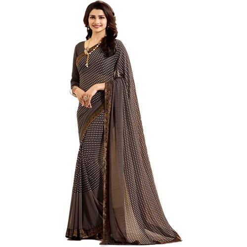 Fancy Fab Printed Daily Wear Chiffon Saree(Brown)