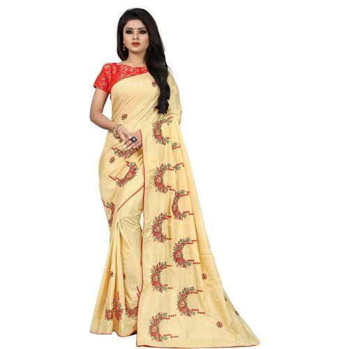 transindia exim Embroidered Paithani Art Silk Saree(Cream)