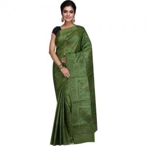 b4077048ac RB Sarees Embroidered Katha Pure Silk, Tussar Silk Saree(Dark Green)