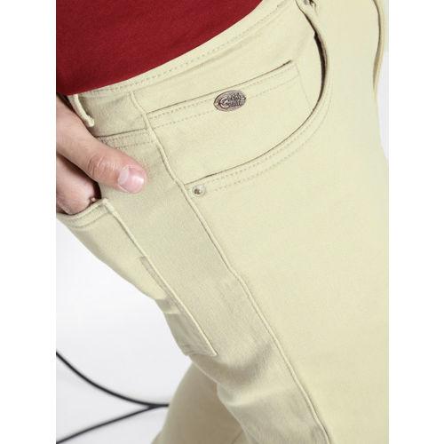 Ecko Unltd Men Beige Slim Fit Flat-Front Trousers