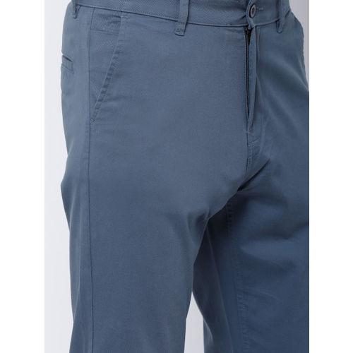 HIGHLANDER Men Blue Tapered Fit Solid Regular Trousers