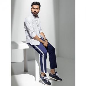 HIGHLANDER by Rohit Sharma Men Blue Slim Fit Solid Regular Trousers