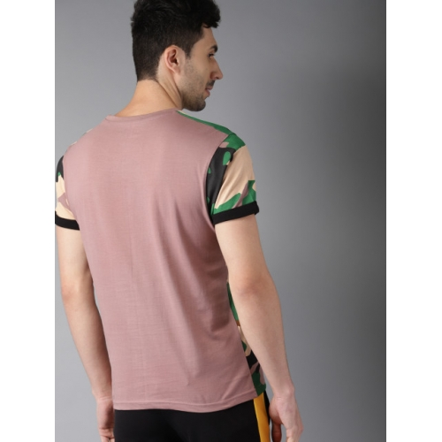 HERE&NOW Men skin -Coloured Printed Round Neck T-shirt